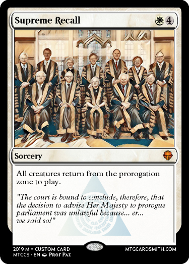 Supreme Recall spoof Magic the Gathering card